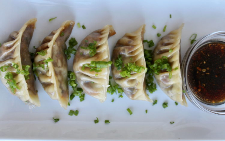 Vegan dumplings overhead view