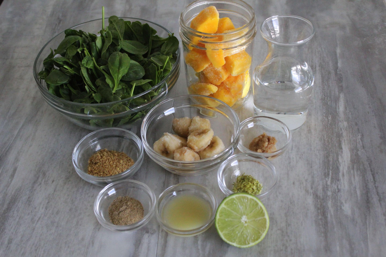 Mango cardamom green smoothie ingredients