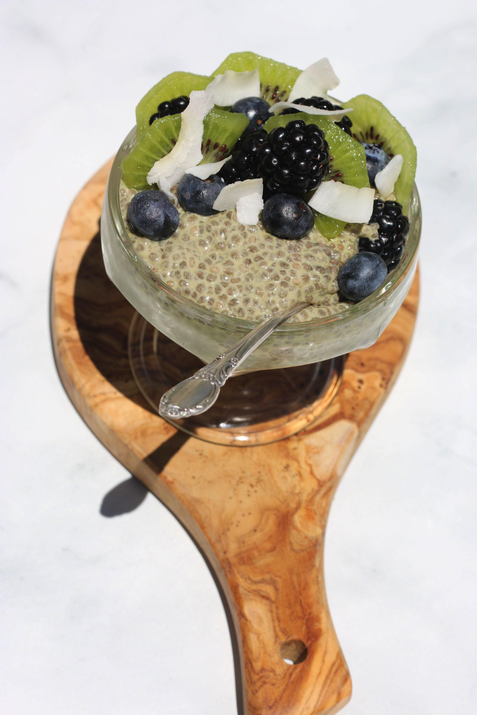 Vegan matcha chia pudding on serving board