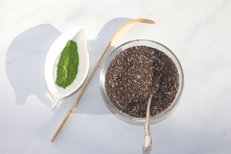 Green tea matcha powder and chia seeds