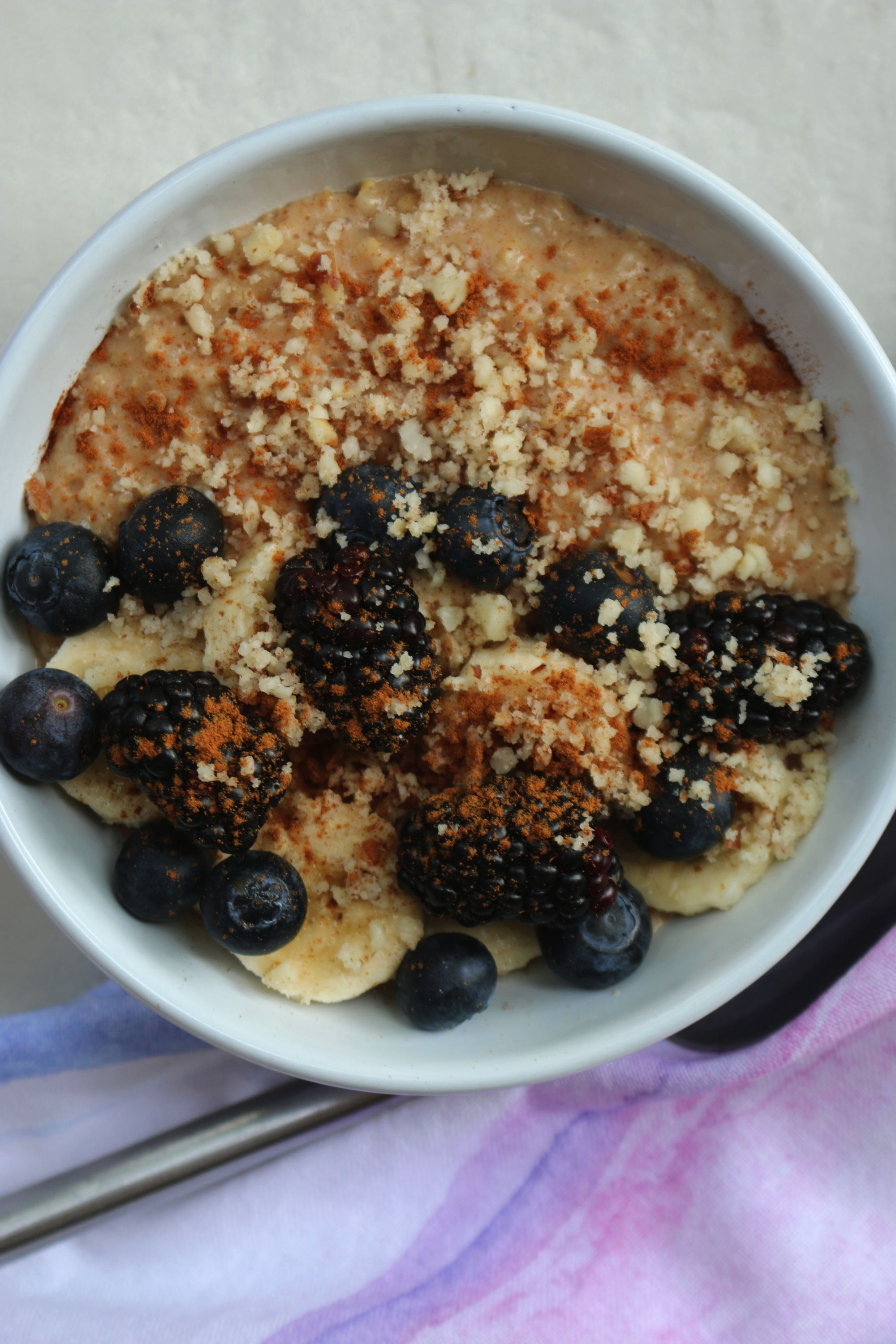 Steel cut oatmeal with brazil nuts and superfruits