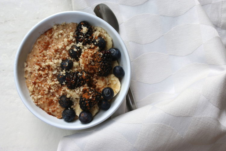 Steel cut oats with brazil nuts and superfruits