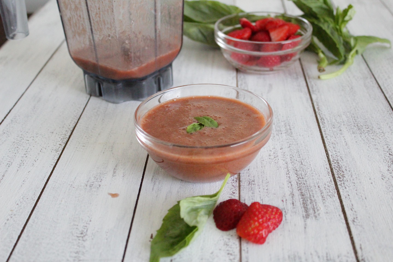 strawberry basil dressing with green veggies