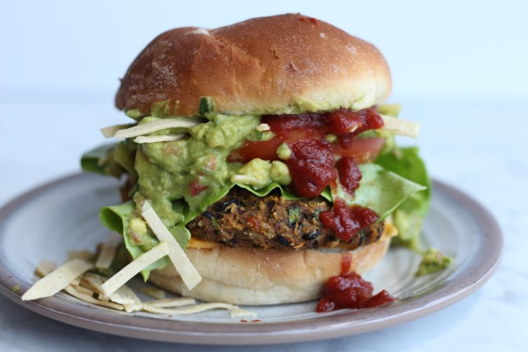 Black Bean sweet potato vegan burger